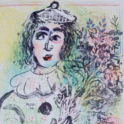 Details of Marc Chagall - Clown with Flowers, 1963