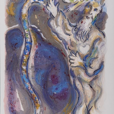 Details of Marc CHAGALL God Turns Moses' Staff into a Serpent 1966