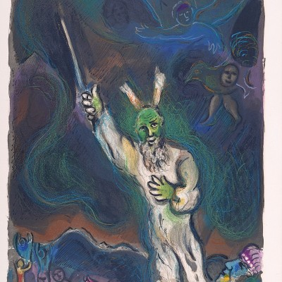 Details of Marc CHAGALL Moses Calls Darkness Down on Egypt 1966