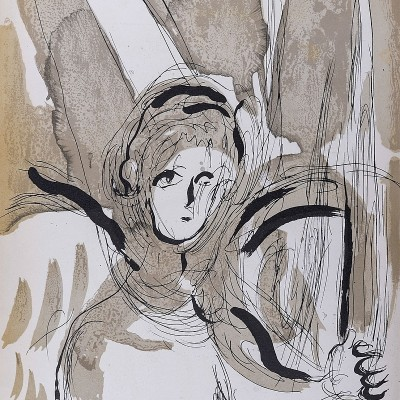 Details of Marc CHAGALL  Angel with Sword 1956