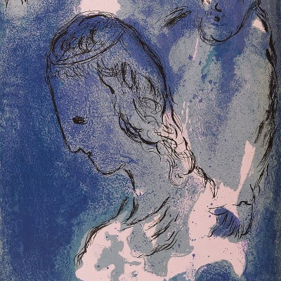 Details of Marc CHAGALL  Abraham and Sara 1956