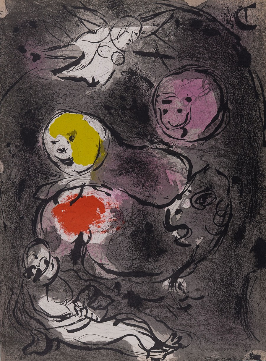 Original of Marc CHAGALL   Prophet Daniel with lions 1956  for sale