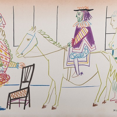 Details of Pablo PICASSO  Clown & Circus Rider, 1954