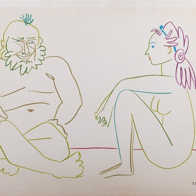Details of Pablo PICASSO - Clown & Nude Woman, 1954 - Original lithograph