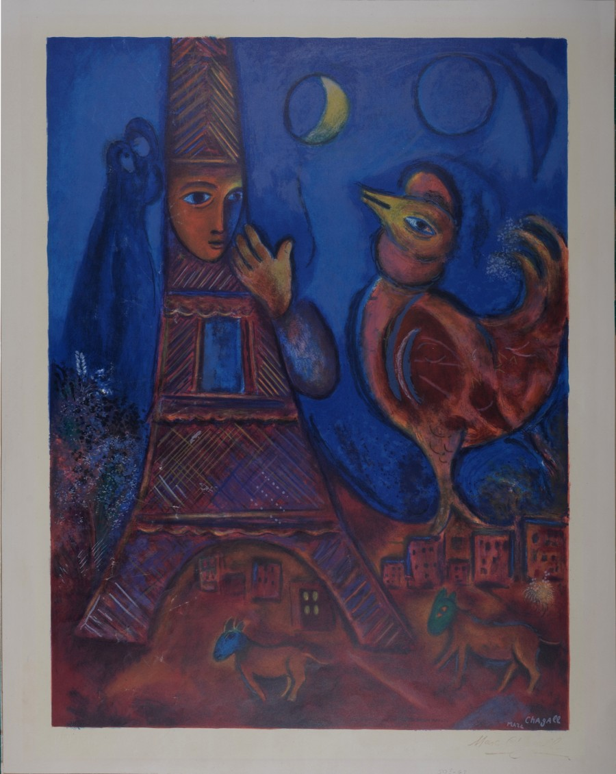 Original of Marc Chagall, Bonjour Paris 1972  for sale